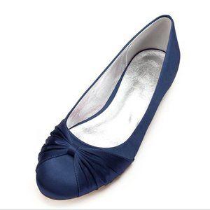 NWT Blue Satin Wedding Shoes Ballet Flats